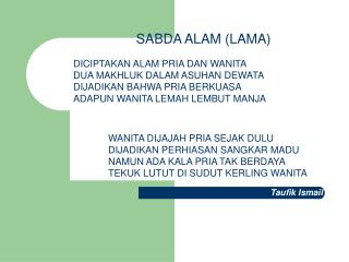 SABDA ALAM (LAMA)