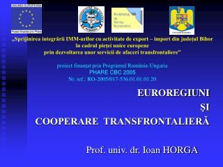 E UROREGIUNI  ?I  COOPERARE  TRANSFRONTALIER?                         Prof. univ. dr. Ioan HORGA