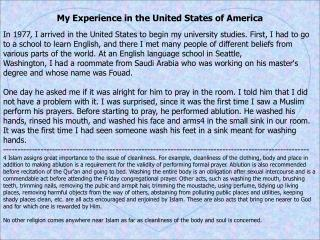 My Experience in the United States of America
