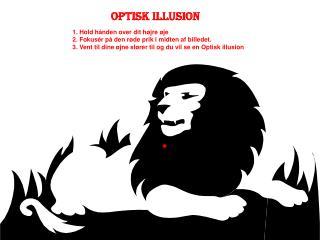 1. Hold hånden over dit højre øje 2. Fokusér på den røde prik i midten af billedet.