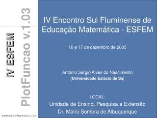 IV Encontro Sul Fluminense de Educação Matemática - ESFEM 16 e 17 de dezembro de 2005