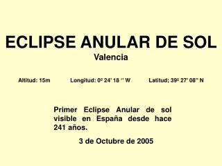 ECLIPSE ANULAR DE SOL Valencia