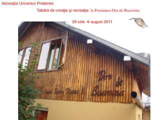 Tabără de creaţie şi recreaţie.  la Pensiunea Dor de Bucovina