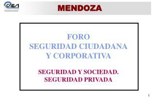 FORO SEGURIDAD CIUDADANA Y CORPORATIVA SEGURIDAD Y SOCIEDAD. SEGURIDAD PRIVADA