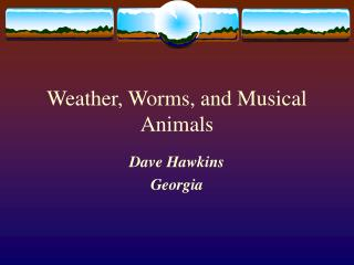 Weather, Worms, and Musical Animals