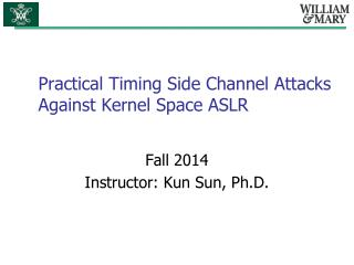 Practical Timing Side Channel Attacks Against Kernel Space ASLR