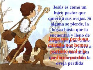Jesús nos perdona cuando nos hemos portado mal y le pedimos perdón