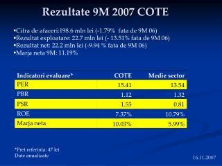 Rezultate 9M 2007 COTE