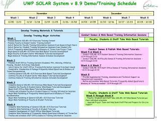 UWP SOLAR System v 8.9 Demo/Training Schedule