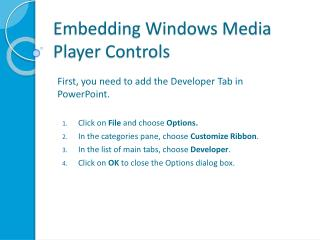 Embedding Windows Media Player Controls