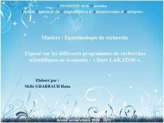 Matière : Epistémologie de recherche