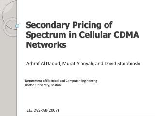 Secondary Pricing of Spectrum in Cellular CDMA Networks