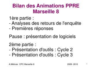 Bilan des Animations PPRE  Marseille 8