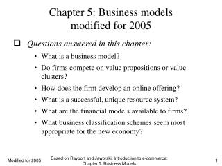 Chapter 5: Business models modified for 2005