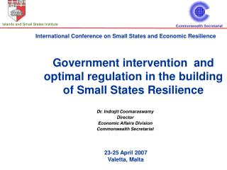 Government intervention  and optimal regulation in the building of Small States Resilience