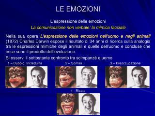 L'espressione delle emozioni La comunicazione non verbale: la mimica facciale