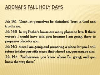 Adonai s Fall Holy Days