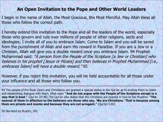 An Open Invitation to the Pope and Other World Leaders