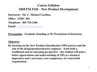 Course Syllabus MSETM 5110   New Product Development