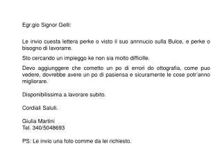 Egr.gio Signor Gelli: