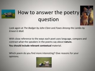How to answer the poetry question