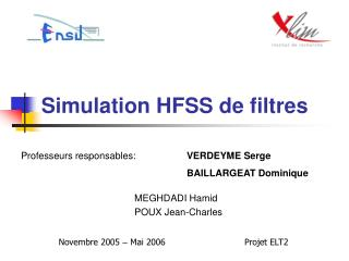 Simulation HFSS de filtres