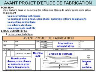AVANT PROJET D ETUDE DE FABRICATION