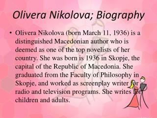 Olivera Nikolova; Biography