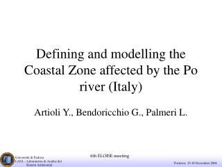 Defining and modelling the Coastal Zone affected by the Po river (Italy)