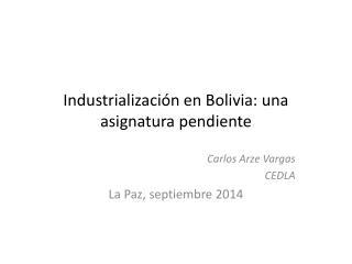 Industrialización en Bolivia: una asignatura pendiente