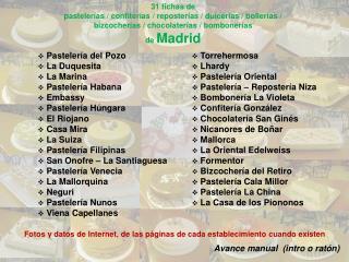 31 fichas de pastelerías / confiterías / reposterías / dulcerías / bollerías /