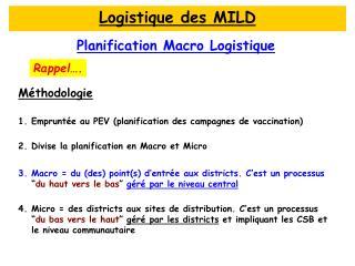 Planification Macro Logistique