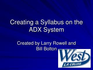 Creating a Syllabus on the ADX System