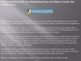 Gateway Funding Needs Your Help Raising Money for Military F