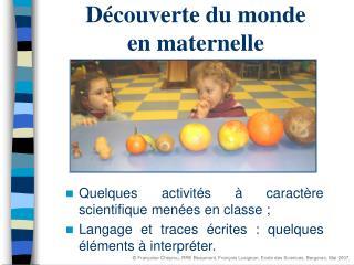 D couverte du monde en maternelle