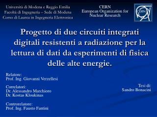 Universit à di Modena e Reggio Emilia Facoltà di Ingegneria – Sede di Modena