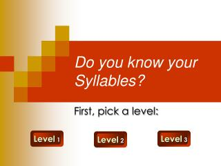 Do you know your Syllables
