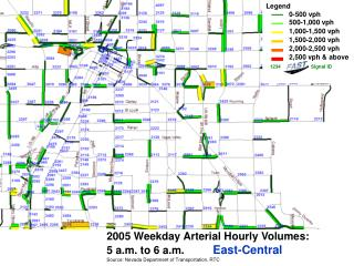 2005 Weekday Arterial Hourly Volumes:   5 a.m. to 6 a.m. East-Central