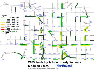 2005 Weekday Arterial Hourly Volumes:   6 a.m. to 7 a.m. Northwest
