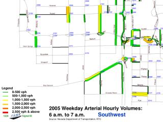 2005 Weekday Arterial Hourly Volumes:   6 a.m. to 7 a.m. Southwest