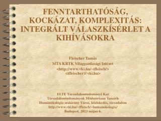 Fleischer Tamás MTA KRTK Világgazdasági Intézet <vki.hu/~tfleisch/> <tfleischer@vki.hu>