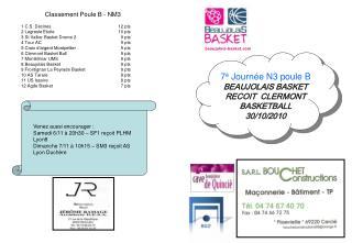 7 è  Journée N3 poule B BEAUJOLAIS BASKET RECOIT  CLERMONT  BASKETBALL 30/10/2010