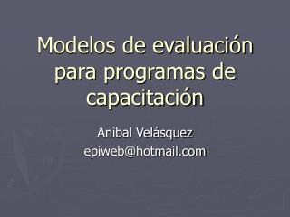 Modelos de evaluación para programas de capacitación