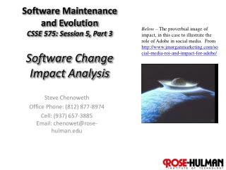 Software Maintenance and Evolution CSSE 575: Session 5, Part  3 Software Change Impact Analysis