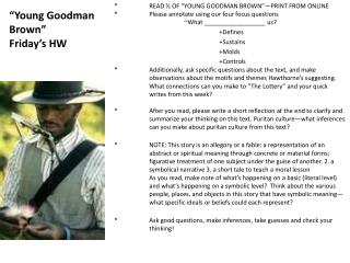 Young Goodman Brown  Friday s HW