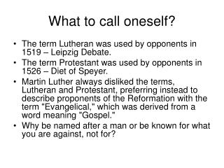 What to call oneself