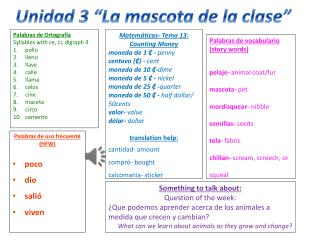Palabras  de vocabulario (story words ) pelaje-  animal coat/fur mascota-  pet