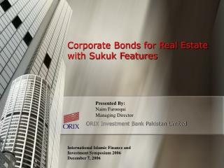 Corporate Bonds for Real Estate with Sukuk Features