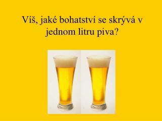 Víš, jaké bohatství se skrývá v jednom litru piva?