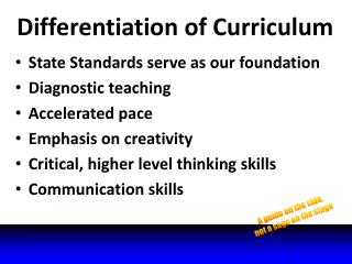 Differentiation of Curriculum